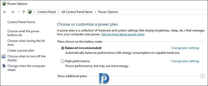 Power Options Control Panel