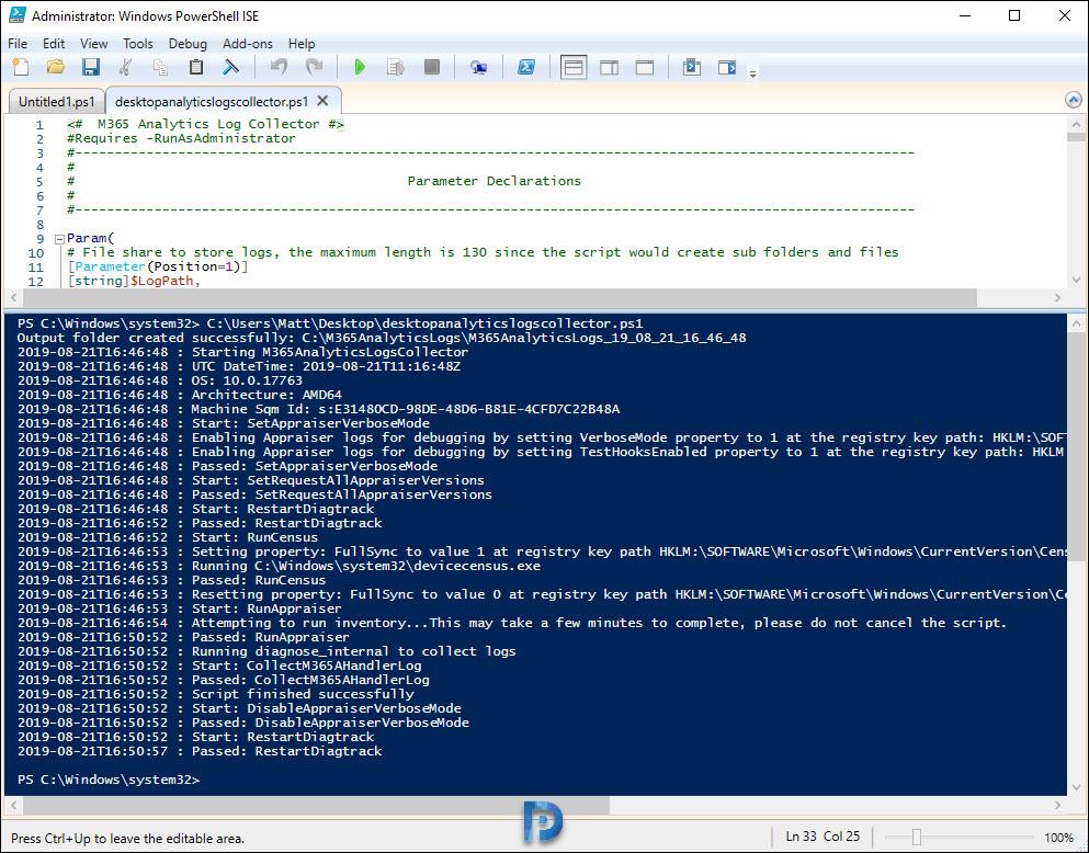 Run Desktop Analytics Logs Collector Tool