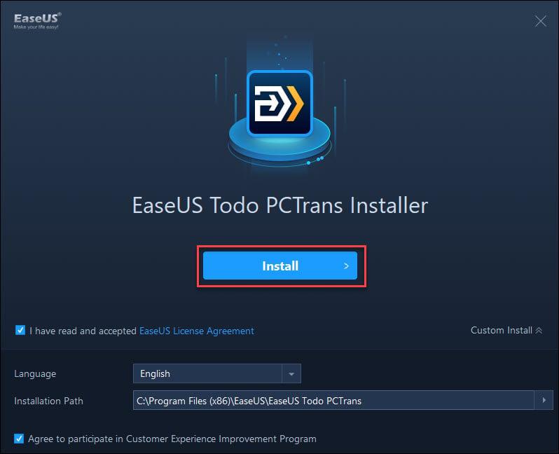 Install EaseUS Todo PCTrans