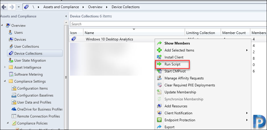 Run script on sccm device collection
