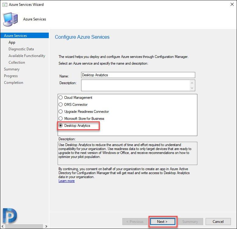 Select Desktop Analytics