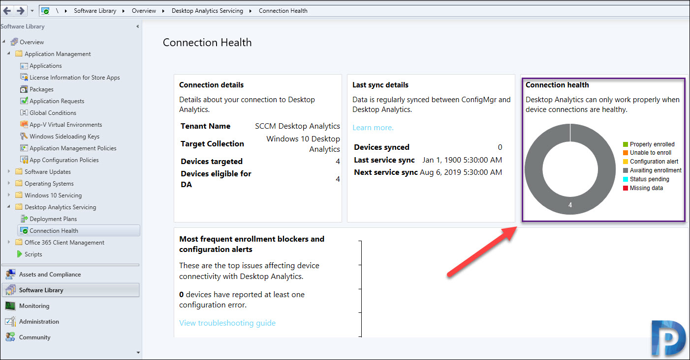 Desktop Analytics Connection health