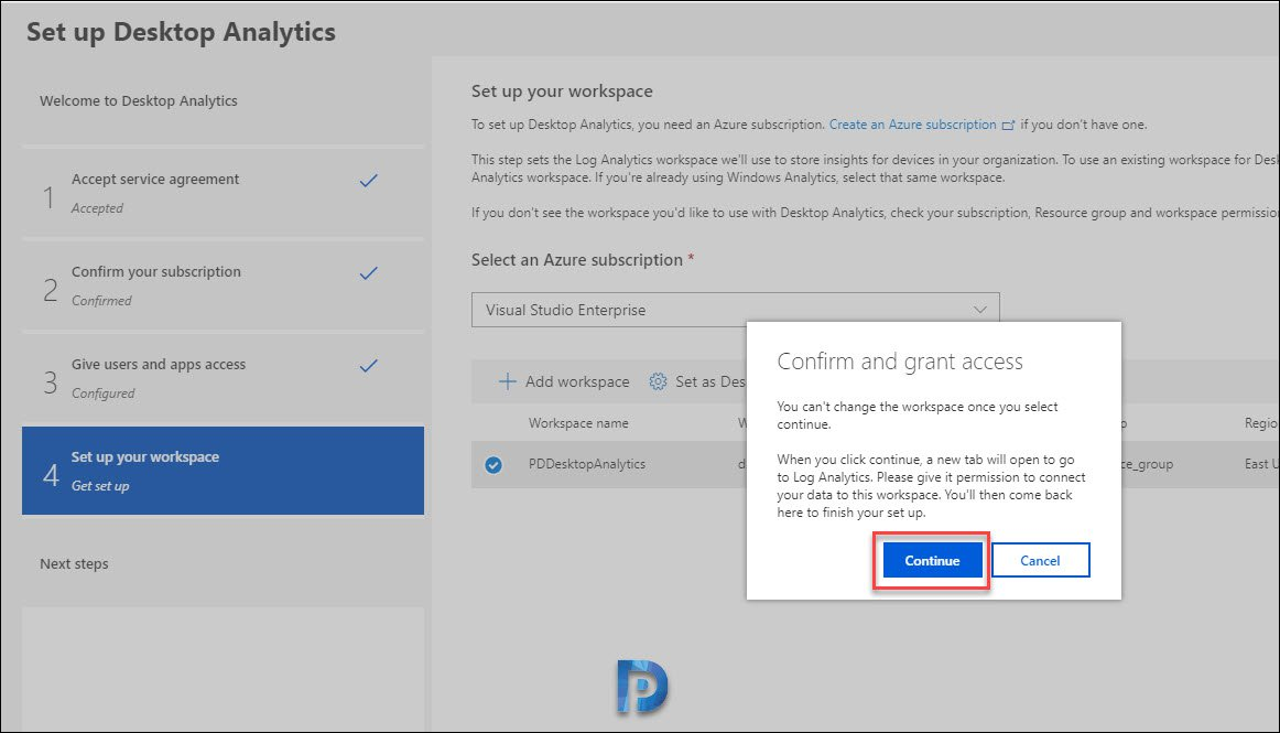 Set up Desktop Analytics in the Azure portal