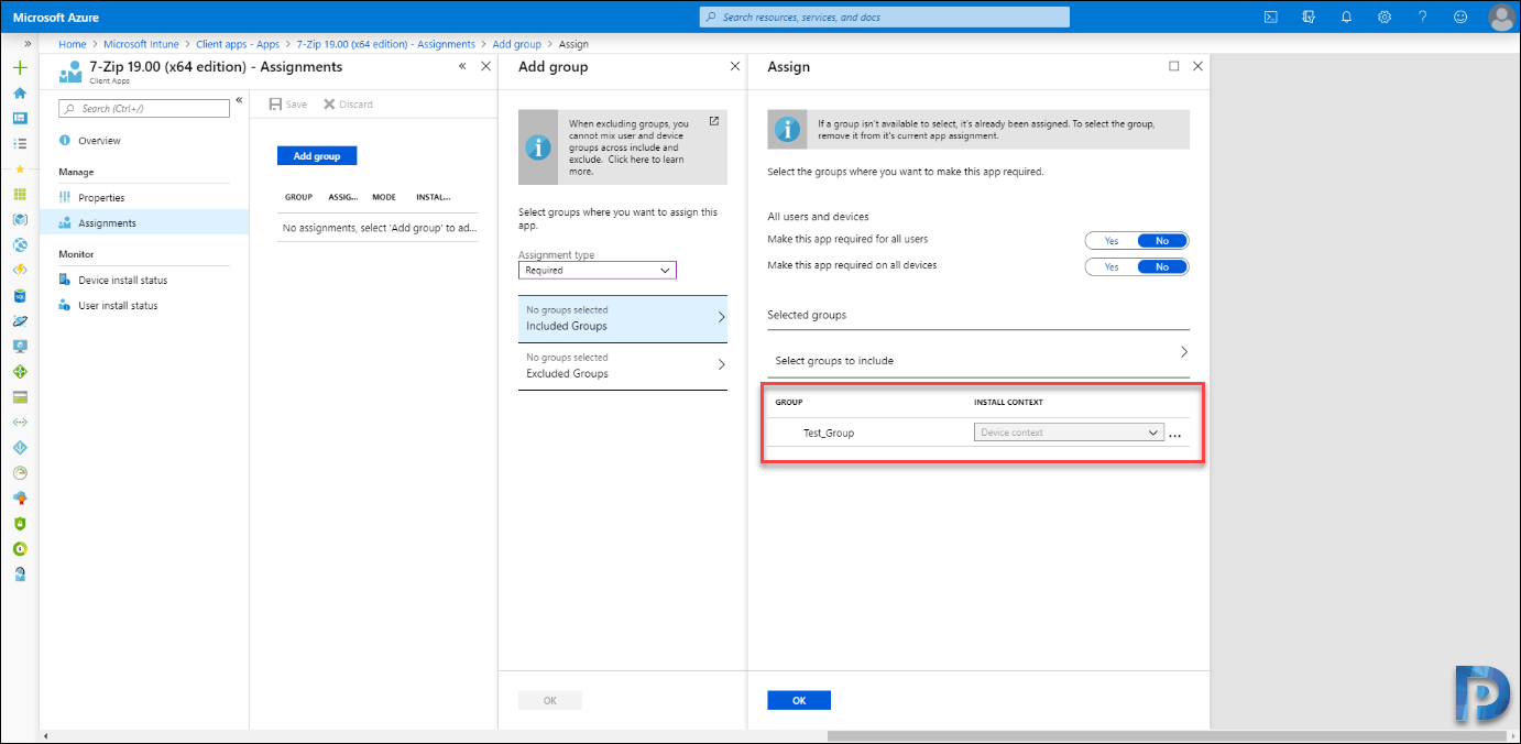 Assign applications to groups with Intune