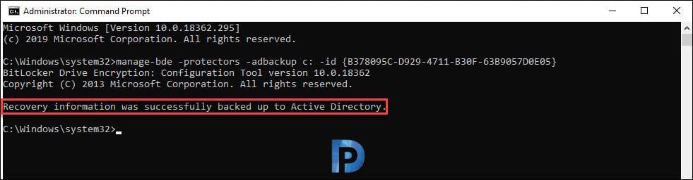 Manually Backup BitLocker Recovery Key to AD
