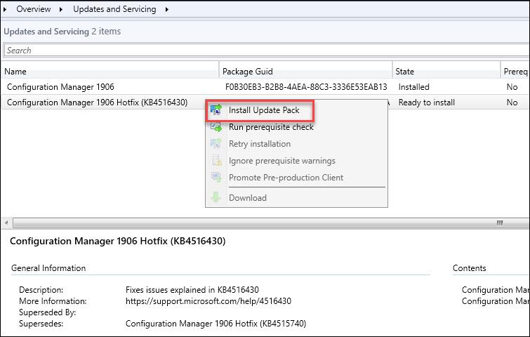 Install SCCM 1906 Hotfix KB4516430