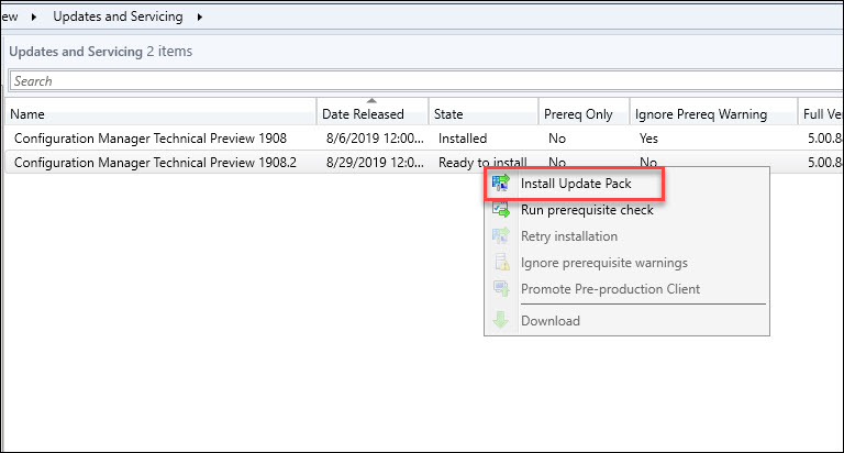 Install SCCM Technical Preview 1908.2