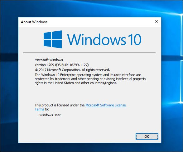 Win 10 version 1709