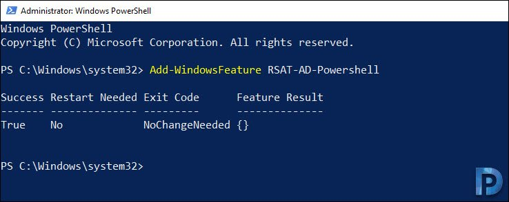 Install Active Directory Module for PowerShell