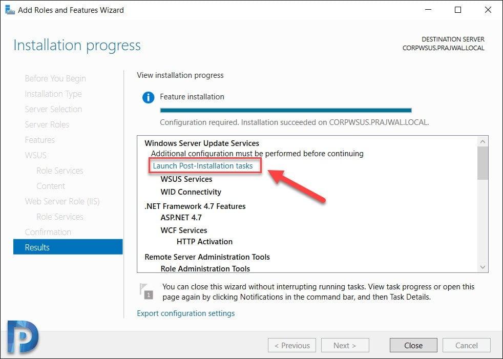 Launch WSUS Post Installation tasks