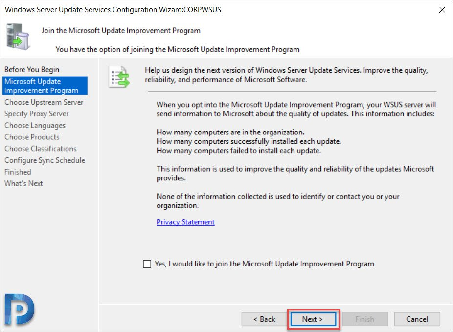 Windows Server Update Services Configuration Wizard