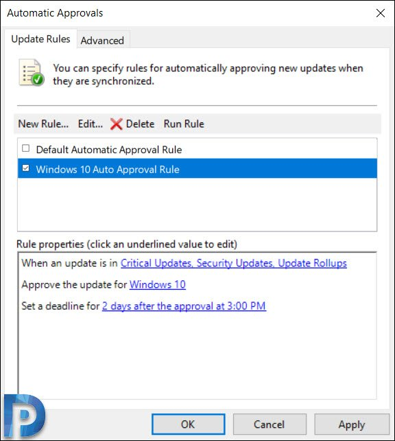 Configure Auto Approval Rules in WSUS