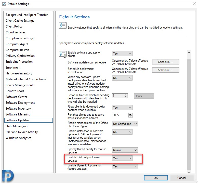 Enable Third-party updates in SCCM