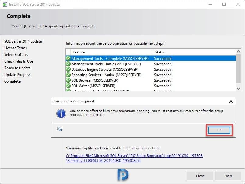 Installing SQL Cumulative Update on SCCM Server