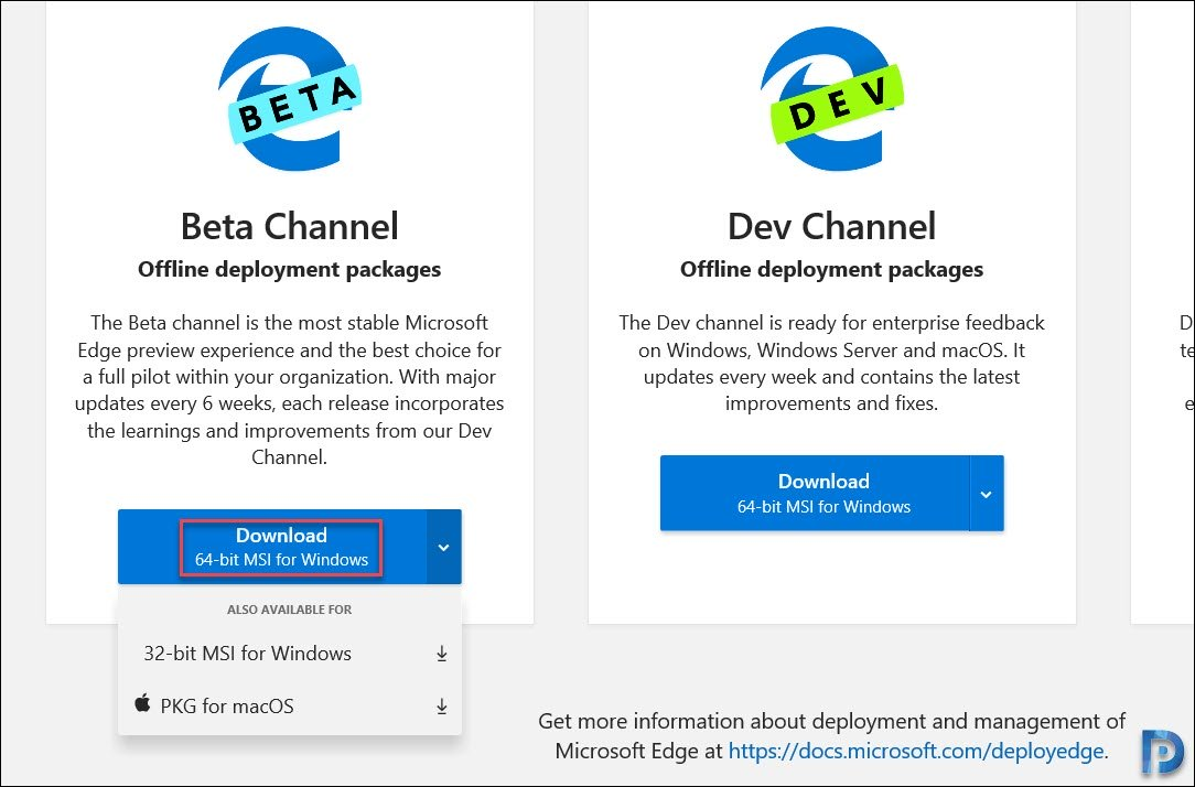 Download Microsoft Edge for enterprise
