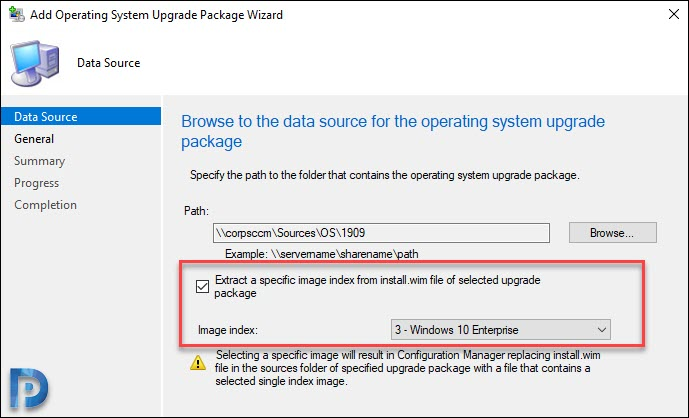 Import a single index of an OS upgrade package