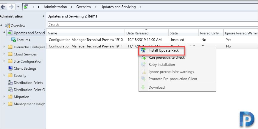 Configuration Manager Technical Preview 1911