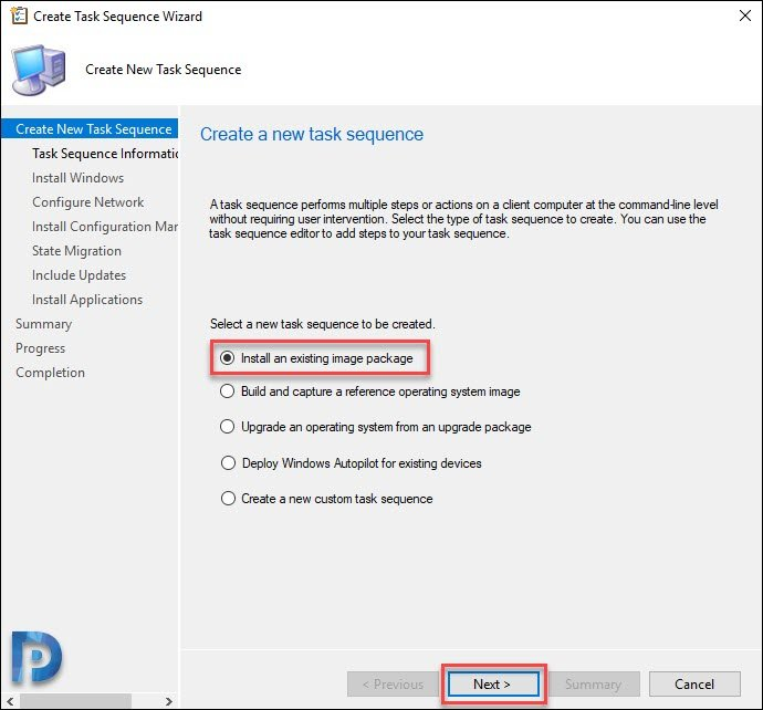 Create SCCM Task Sequence