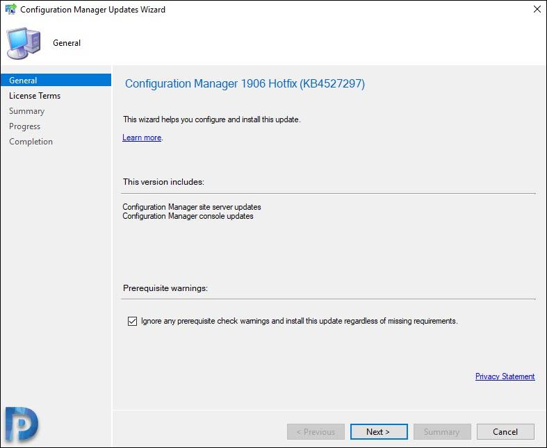 Install SCCM 1906 Hotfix KB4527297