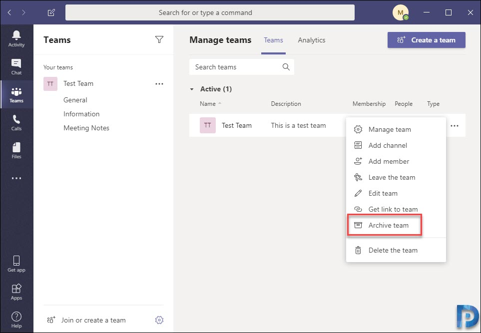 How to Archive a Team in Microsoft Teams