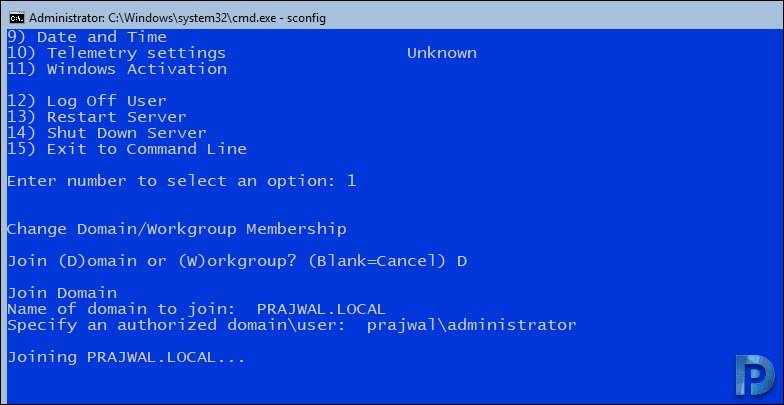 Join a Windows Server Core to Domain