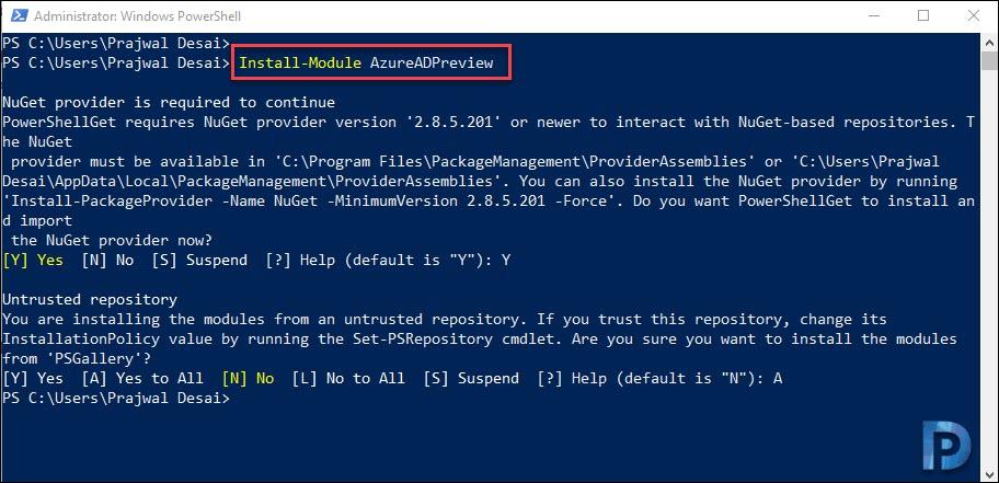 Install-Module AzureADPreview