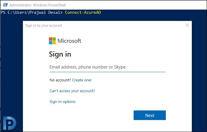 Azure account signin