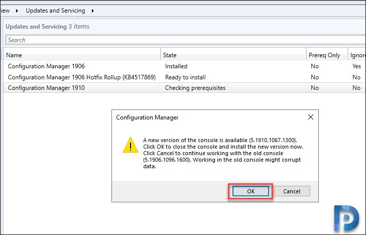 Configuration manager 1910 Console Upgrade