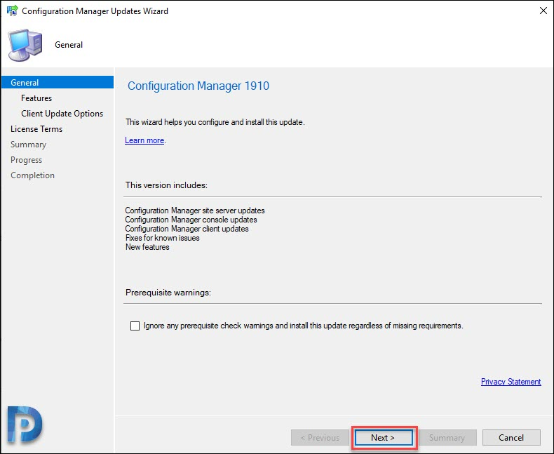 Perform SCCM 1910 Upgrade / Install SCCM 1906 Update