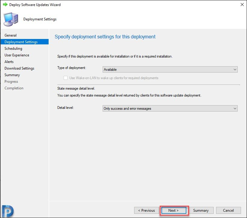 Specify Deployment Settings