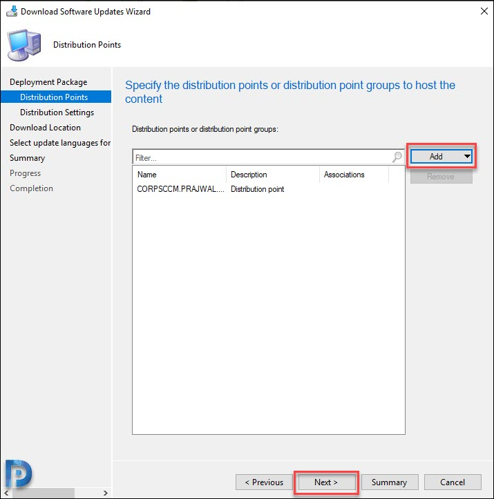 Add SCCM distribution point