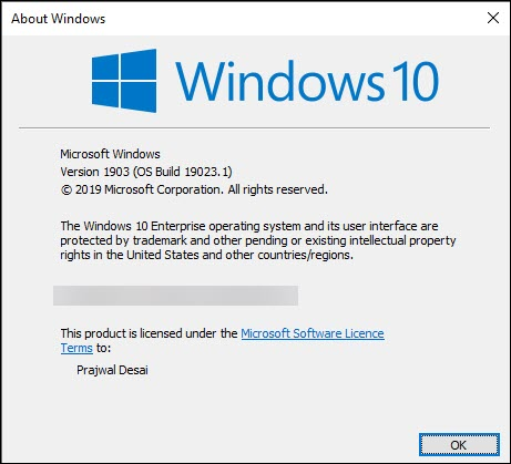 Windows 10 Insider Preview 19023.1 Release Snap3