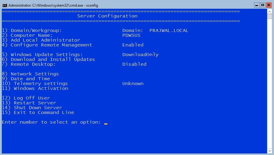 Windows Server Core SConfig Options