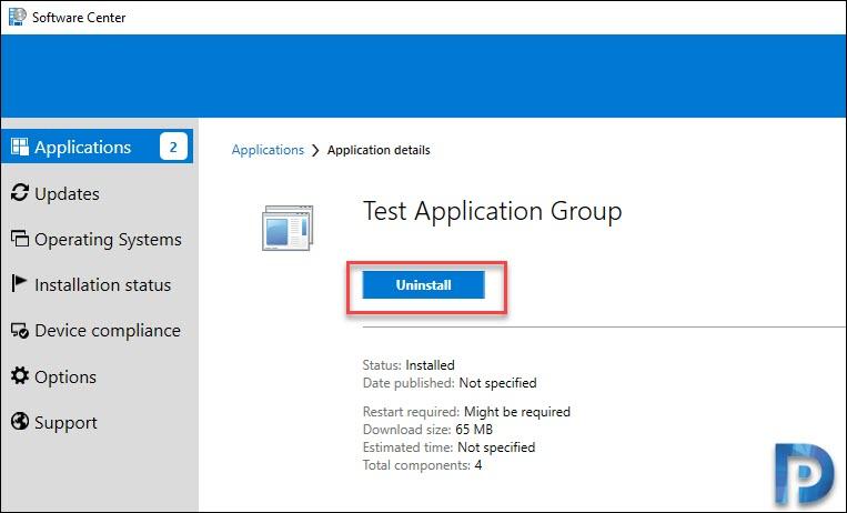 Uninstall Application groups