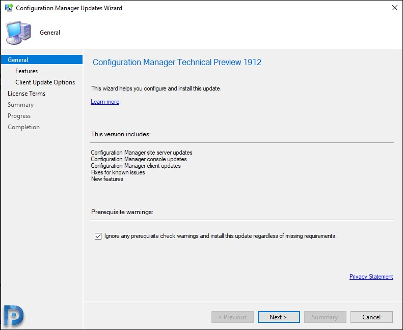 SCCM technical preview 1912