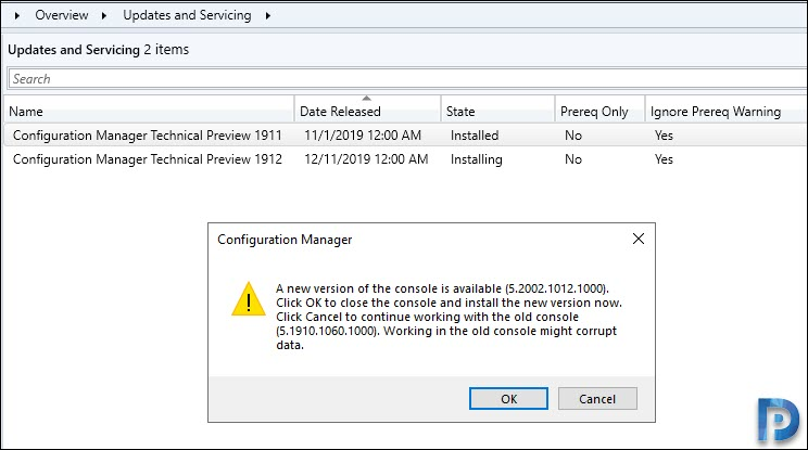 SCCM console upgrade