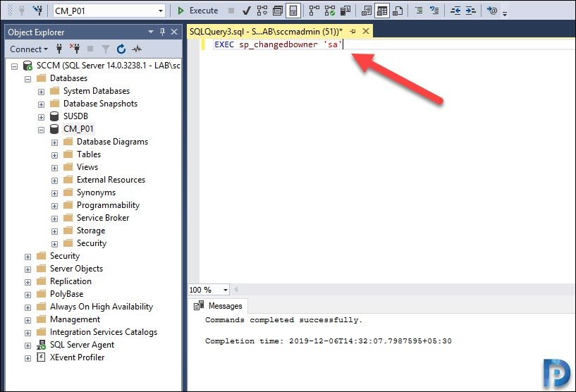 Change database owner to sa
