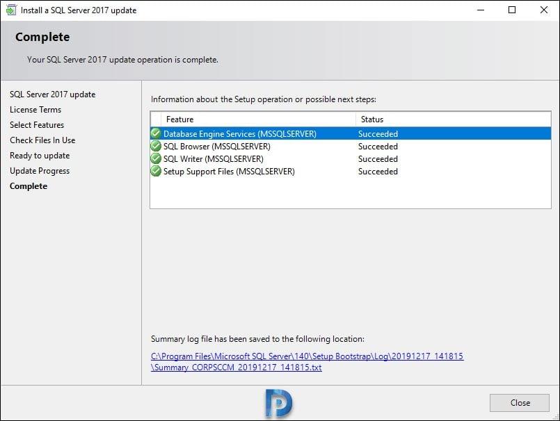 Install SQL Server 2017 Cumulative Update