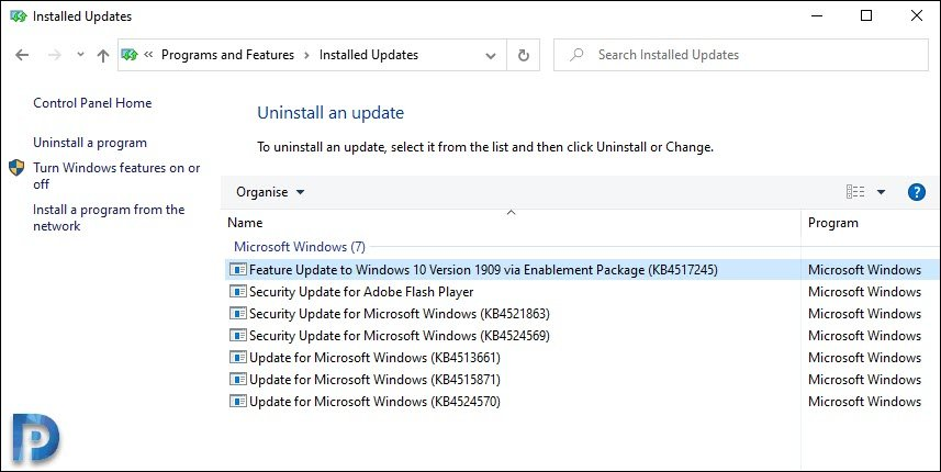 Uninstall Windows 10 Feature Update