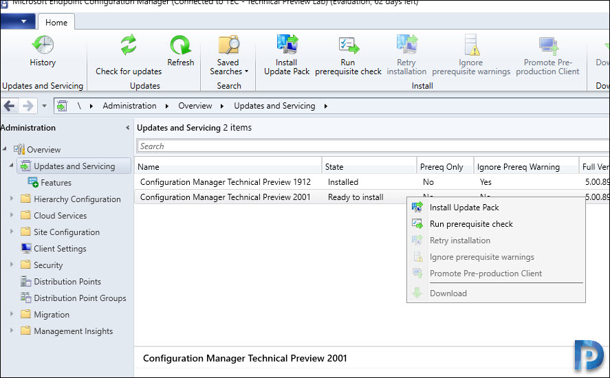 Installing Configuration Manager Technical Preview 2001