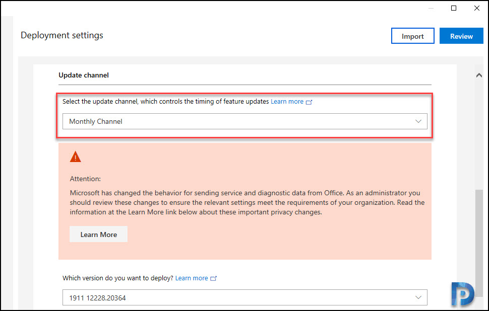 Office 365 update channel