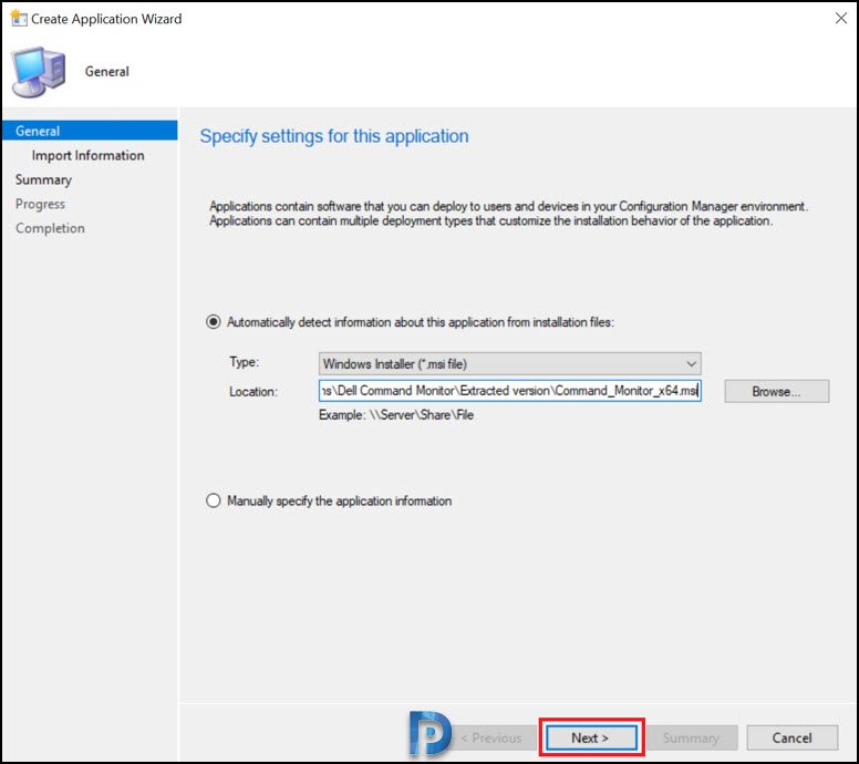 Create Dell Command Monitor application using SCCM