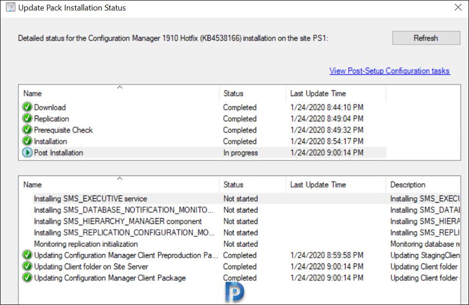 Install ConfigMgr 1910 Hotfix KB4538166