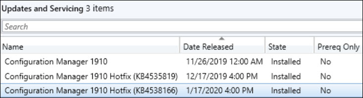 Hotfix KB4538166 Client Update for ConfigMgr 1910 Snap12