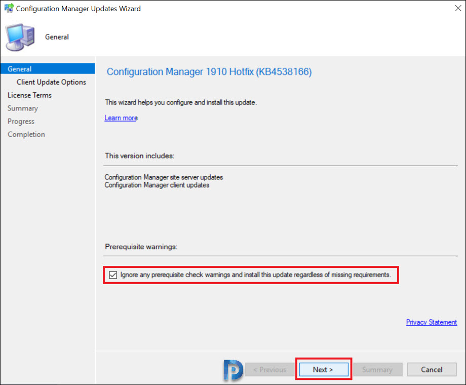 Hotfix KB4538166 Client Update for ConfigMgr 1910 Snap7