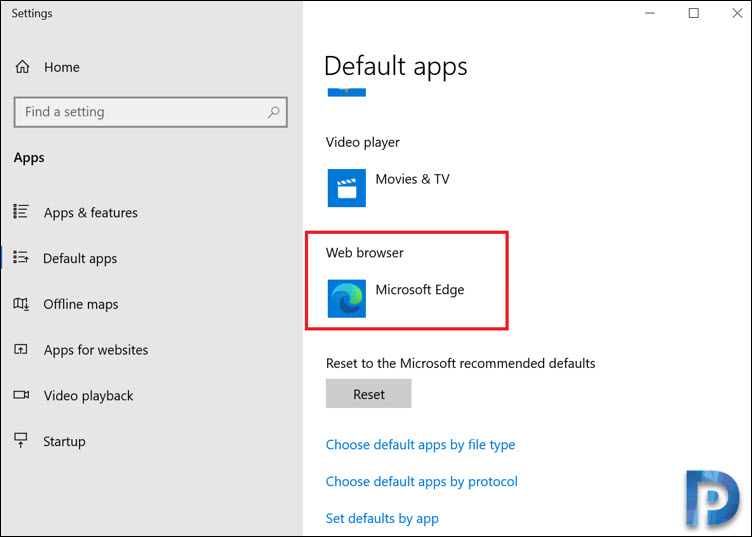 Microsoft Edge Default Apps