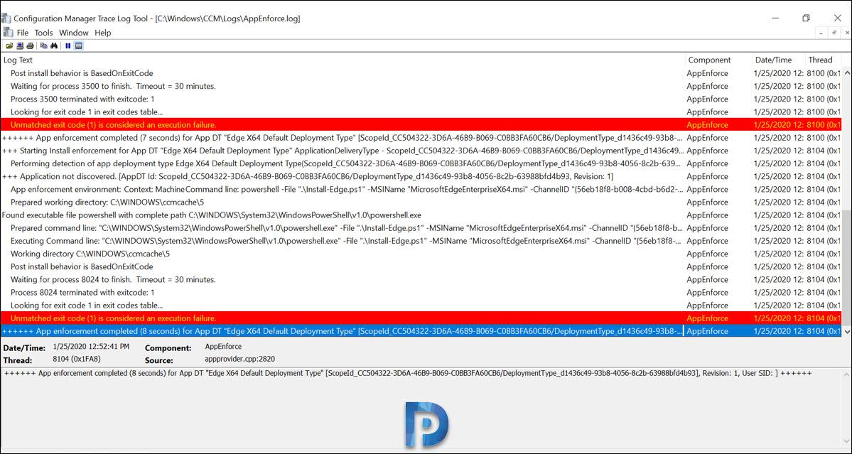 Microsoft Edge Deployment Error - Unmatched exit code (1)