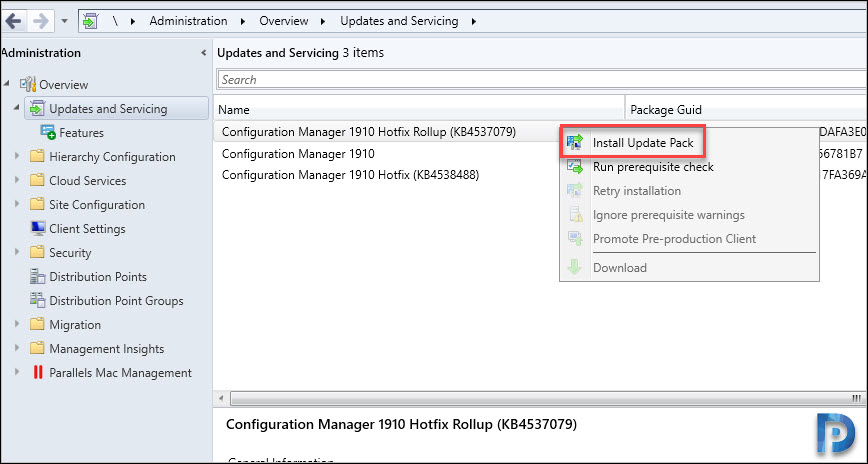 Install Configuration Manager 1910 KB4537079 Update Rollup