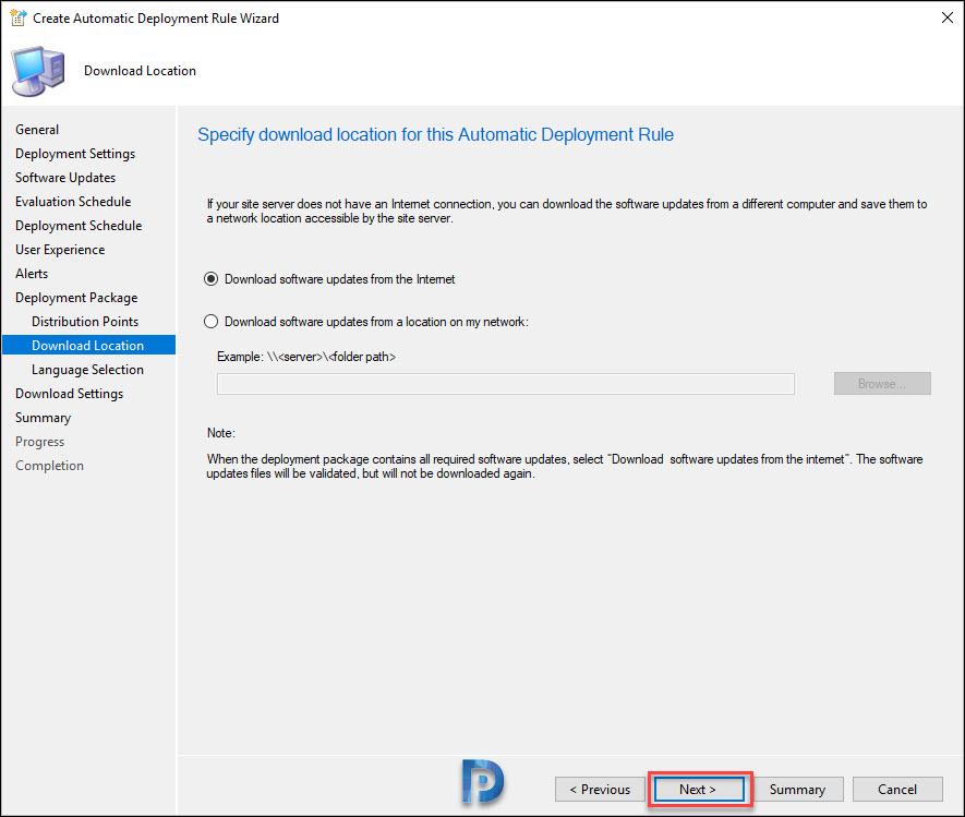 specify ADR download location