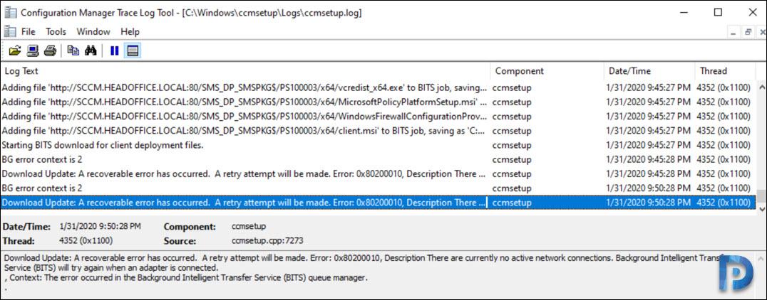 SCCM Client Agent Install Error 0x80200010